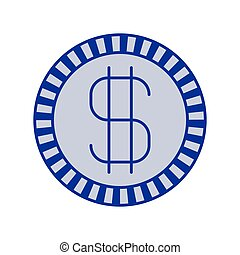 blue silhouette of coin with money symbol