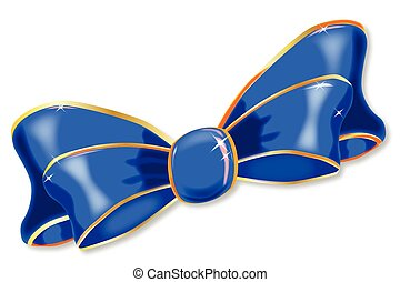 Blue Silk Bow - A brightly colored silk ribbon bow isolated...