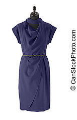 blue silk formal dress with belt isolated on white background
