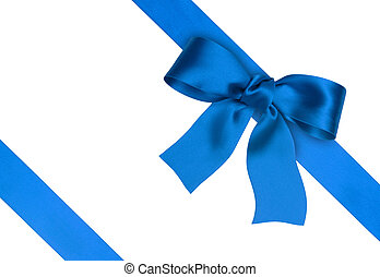 silk ribbon - blue silk ribbon on the white background