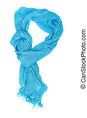 Blue silk scarf isolated on white background