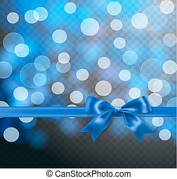 blue silky ribbon and bow on transparent background and light effects, bokeh. vector illustration