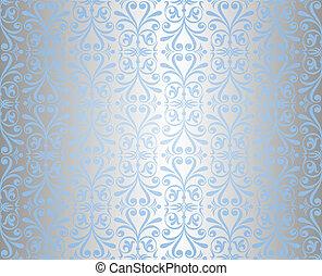 Royal Blue Background With Ornate Silver Leaf An Elegant