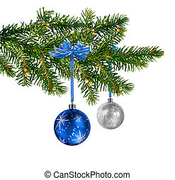 Blue silver glass balls on Christmas tree