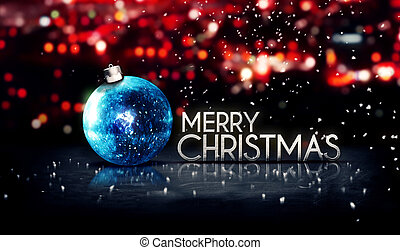 Blue Silver Merry Christmas Bokeh Beautiful 3D Red...