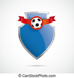Blue Silver Protection Shield Football