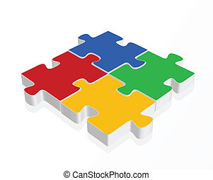 blue, silver, red, yellow, green  puzzle pieces