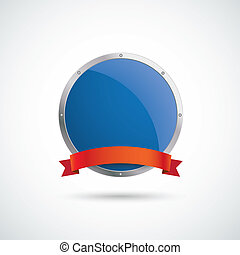 Blue Silver Round Protection Shield Red Flag