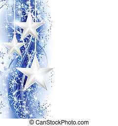 Blue silver star border - Border, frame with silver stars...