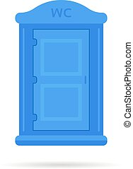 blue simple portable toilet icon