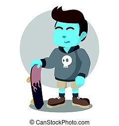 blue skater boy pose