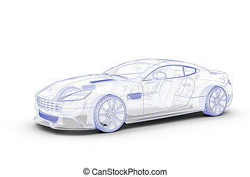 Blue sketch car on a white background