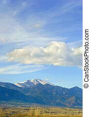 Blue Skies Over Colorado Springs - Pike's Peak looms over...