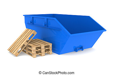 Skip - Blue Skip with a pile of pallets.