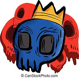 Blue skull with crown