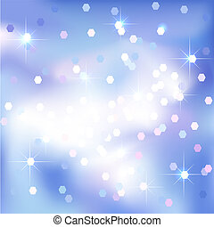 Blue sky abstract background with clouds and stars.