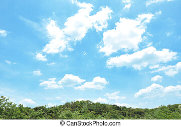 Blue sky and clouds above green hill