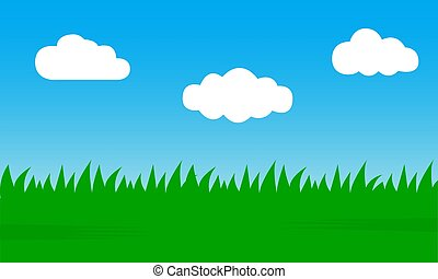 Blue sky and clouds and green grass. Abstract nature background. Vector