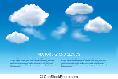 Blue sky and clouds photo-realistic vector background