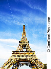 Blue sky and Eiffel tower photo