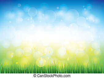 Blue sky and grass vector background