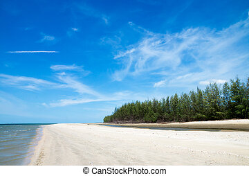Blue sky and sand on the beach.