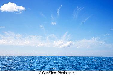 Blue sky and sea and horizon