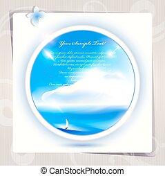 Blue sky and sea background or card. Vector art