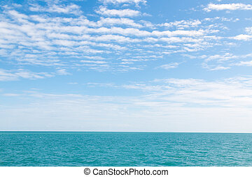 Blue sky and White cloud on sea