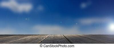 Blue sky and wooden floor. 3d illustration