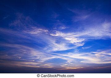 Blue sky at sunset, India.