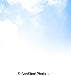 Image of blue sky background, fresh air, abstract natural border, text space, sunny day, cumulus clouds, open heaven, peaceful landscape, textured wallpaper, good weather