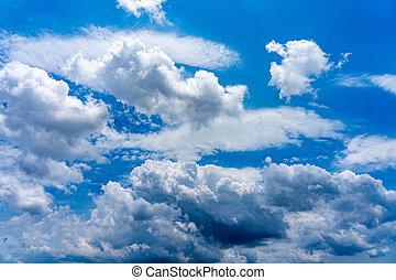 Blue sky background of white clouds floating