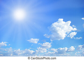 Blue sky background with a tiny clouds