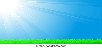 blue sky background with sun beam