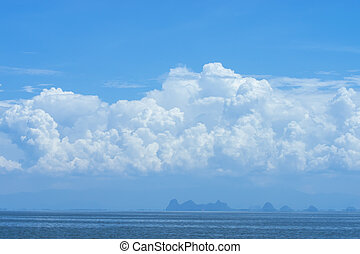 Blue sky background with white clouds.