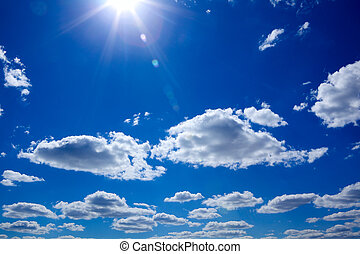 Blue Sky - Blue sky with clouds and sun
