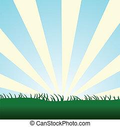 blue sky burst with grass - Bursting yellow sun rays...