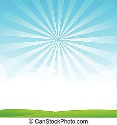 Blue sky cloud sunburst and green field vector illustration