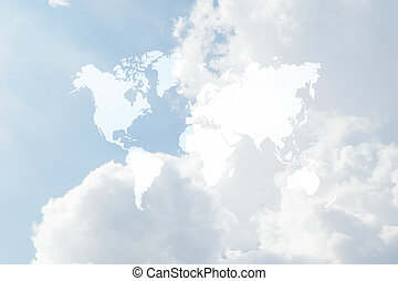 Blue sky cloud with world map