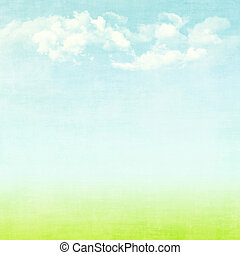 Blue sky, clouds and green field summer background