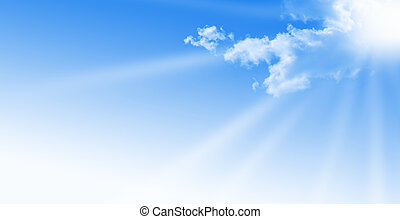blue sky during a sunny day with sunlight. sun somes clouds, free space for text