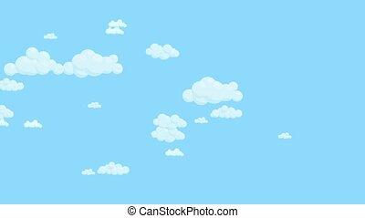 Blue sky full of clouds moving right to left. Cartoon sky...