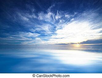 blue sky in the open sea