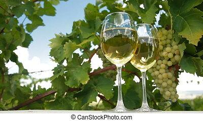 Blue Sky in White Wine Glasses