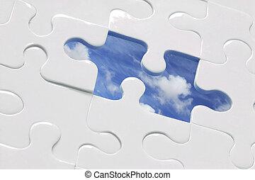 Blue Sky Jigsaw - White jigsaw with piece missing and sky...