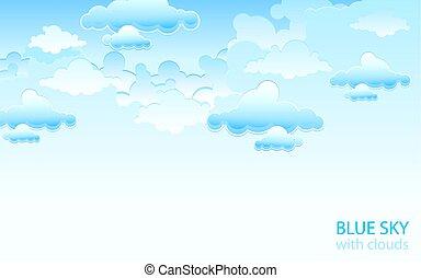 Blue sky landscape. Vector illustration.