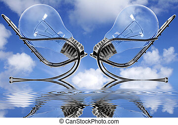 Blue Sky Meeting - Two lightbulbs in chairs facing each...