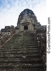 blue sky near the entrance to ancient Preah Khan temple in...