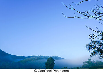 Blue sky on mountain landscape